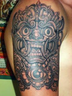 tato barong Bali di lengan