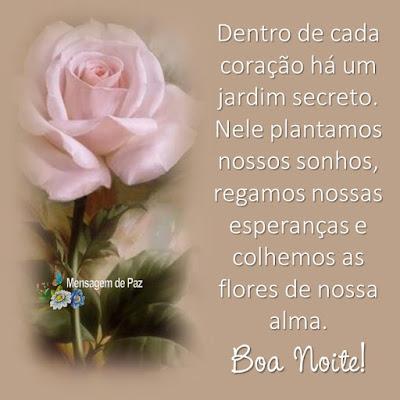 Dentro de cada coração   há um jardim secreto.  Nele plantamos nossos sonhos,   regamos nossas esperanças   e colhemos as flores de nossa alma.  Boa Noite!