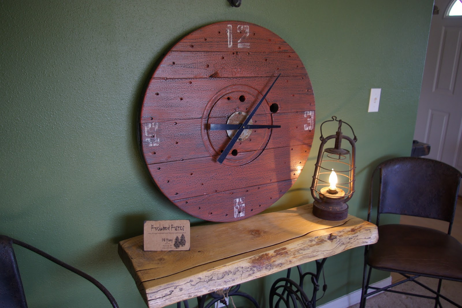 Reclaimed Rustics Wire Spool Clock