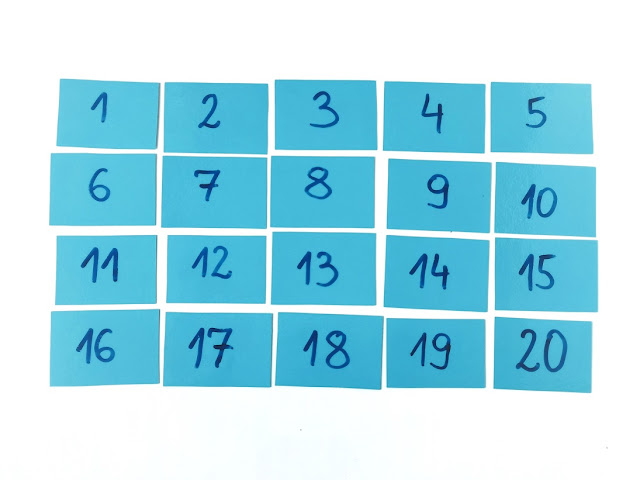 na zdjęciu dwadzieścia niebieskich karteczek z liczbami od jeden do dwadzieścia ułożone w cztery rzędy po pięć karteczek