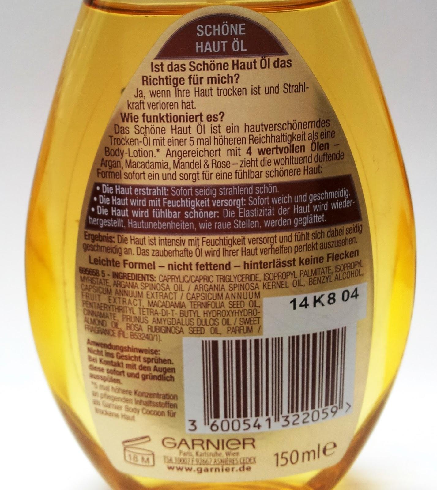 Garnier Schöne Haut Öl INCIS