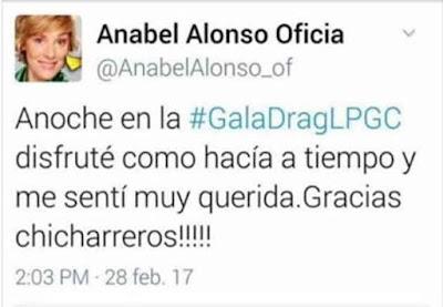 Anabel Alonso retira el tuit que agradecía a los chicharreros por la Gala Drag