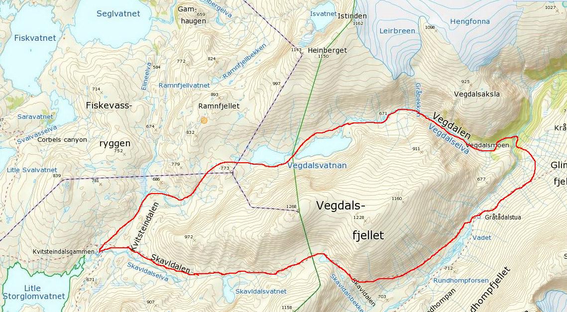 glomfjellet kart Trekanten i Làhko Nasjonalpark. glomfjellet kart