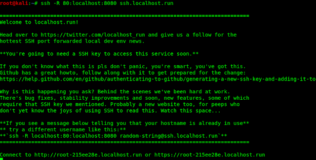 localhost.run port forwarding
