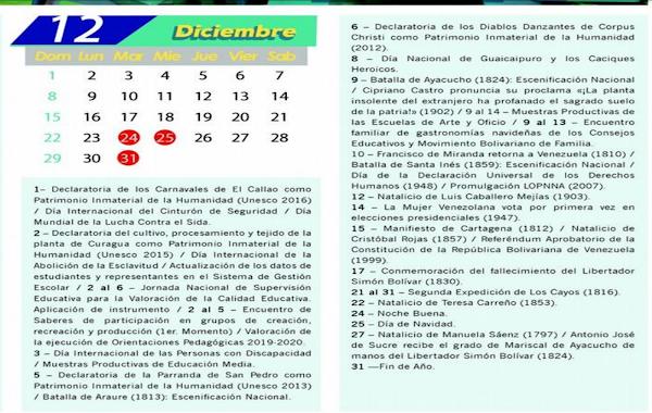 CALENDARIO ESCOLAR OFICIAL 2019-2020 MPP,  MES DE DICIEMBRE  + ENERO