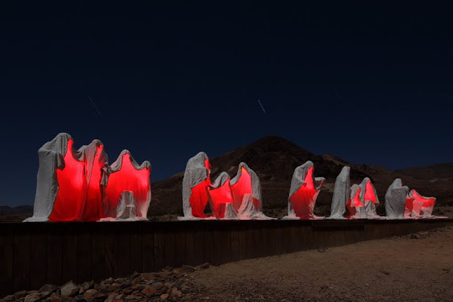 The Last Supper sculpture in the desert by the late artist Albert Szukalski, 1984