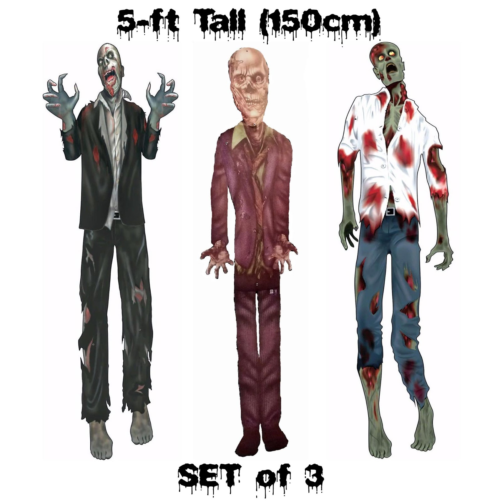 5ft Jointed Cutouts MUMMY-VAMPIRE-SKELETON Halloween Party Decorations 3-pc SET