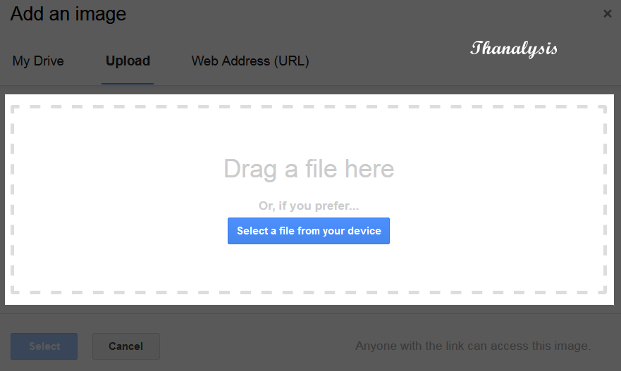Drag & drop the image or select it by pressing the select file from your device button to upload it to Gmail.