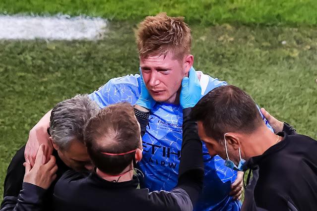 Injured Kevin De Bruyne in tears