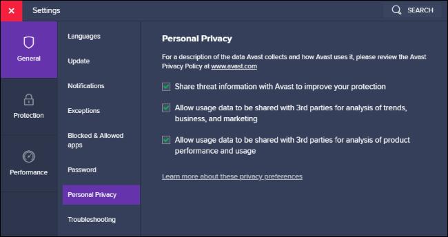 خيارات مشاركة بيانات الخصوصية الشخصية في Avast.