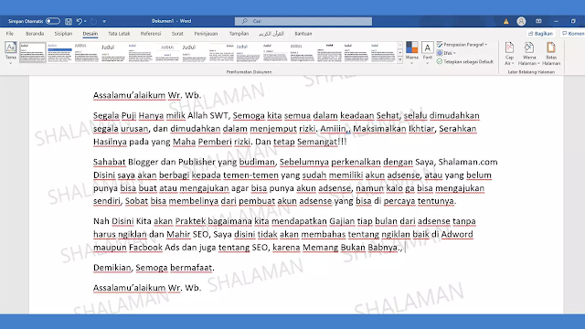 Cara Membuat Watermark Full Paper di Word