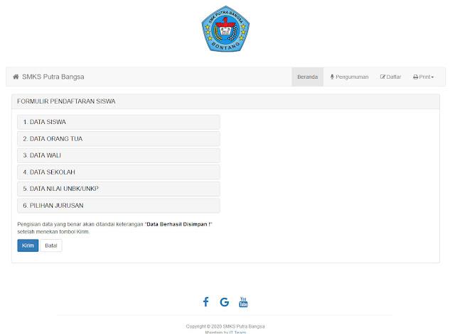 Halaman Pendaftaran PPDB