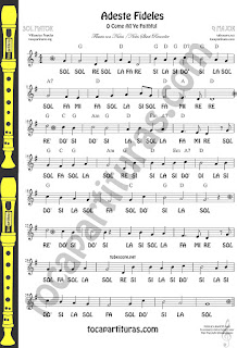 Adeste Fideles Partitura con Notas de SOL MAYOR CLAVE DE SOL TREBLE CLEF EASY G Notes O come All Ye Faithful sheet Music Villancico