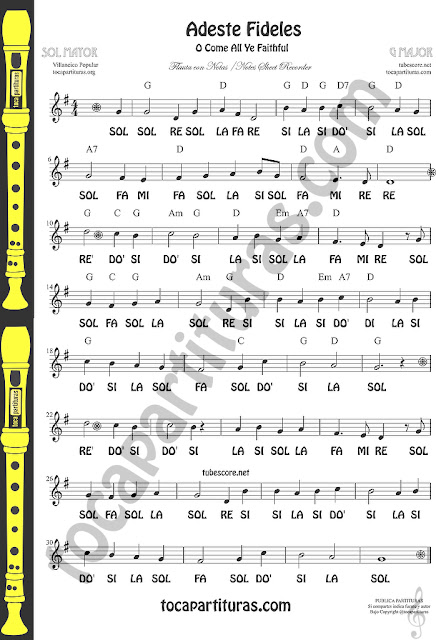 Adeste Fideles Spanish Easy Notas Sheet Music in G Mayor for Treble Clef Instruments