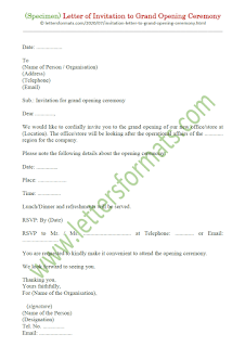 example of invitation letter for grand opening