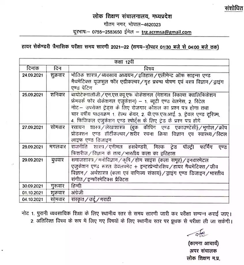 MP Board Class 12th Quarterly Exam (Trimasik Pariksha) time table 2021-22