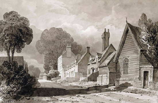 The Great North Road through Bell Bar (looking south) Painting by Buckler 1840 Image from the former NMLHS now part of the Images of North Mymms Collection