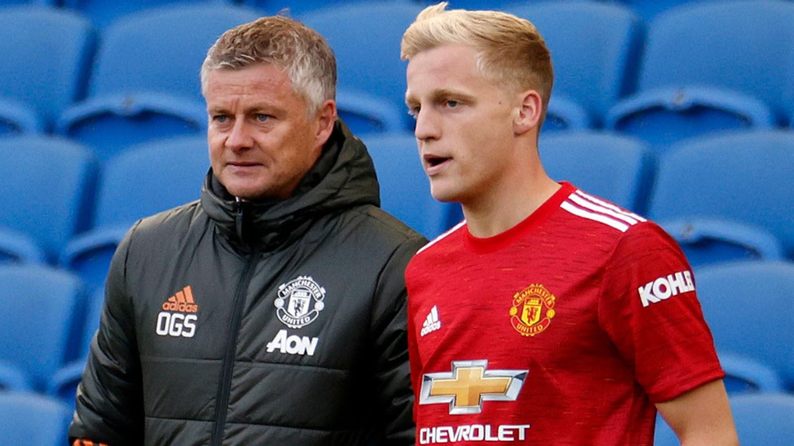 Man United Ole Gunnar Solskjaer and Donny Van De Beek