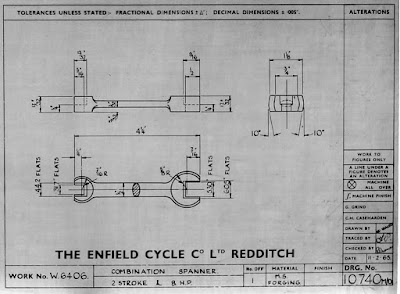 Royal Enfield technical drawing shows wrench.