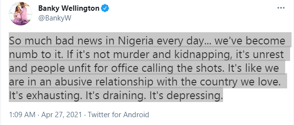 So much bad news in Nigeria every day - Banky W