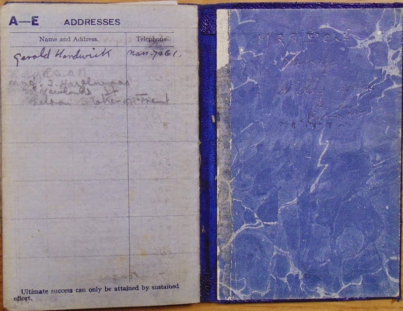 Blue diary - address section and back cover (National Archives KV 2/27)