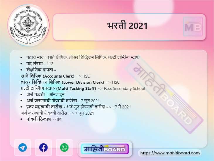 Directorate of Accounts Goa Bharti 2021