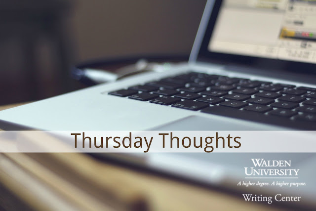 Laptop sits on desk. Text reads: Thursday Thoughts, Walden University Writing Center