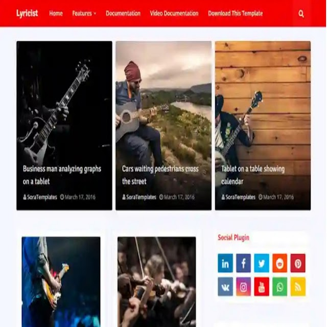 Lyricist Premium Blogger Template For Free without footer Credit