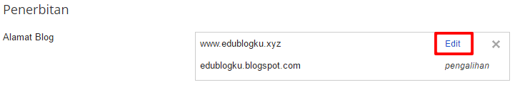 Klik Tautan Edit di Nama Domain