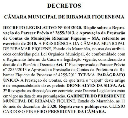 Câmara Municipal de Ribamar Fiquene vota contra parecer do Tribunal de Contas do Estado, e aprova as contas do ex prefeito Dione Alves!!!