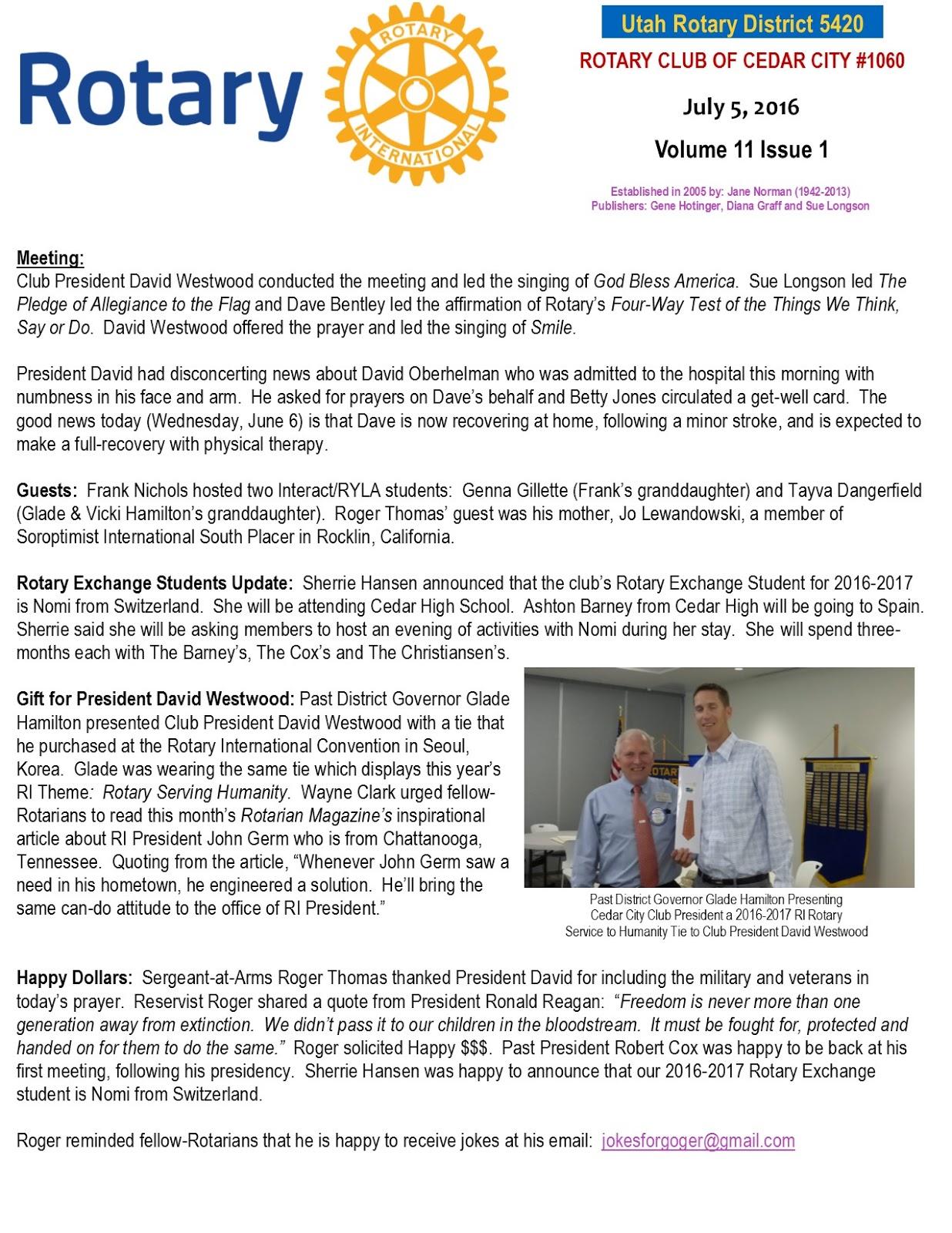 Cedar City Rotary Club service above self humanitarian