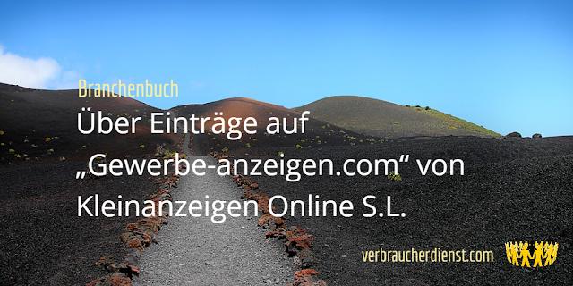 """Titel: Einträge auf """"gewerbe-anzeigen.com"""" von Kleinanzeigen Online S.L."""