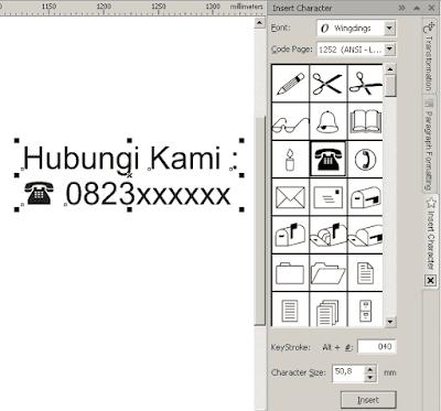 Insert Symbol Character Pada CorelDRAW Menyisipkan Simbol/Icon Masjid, Rumah, Telephone,dll