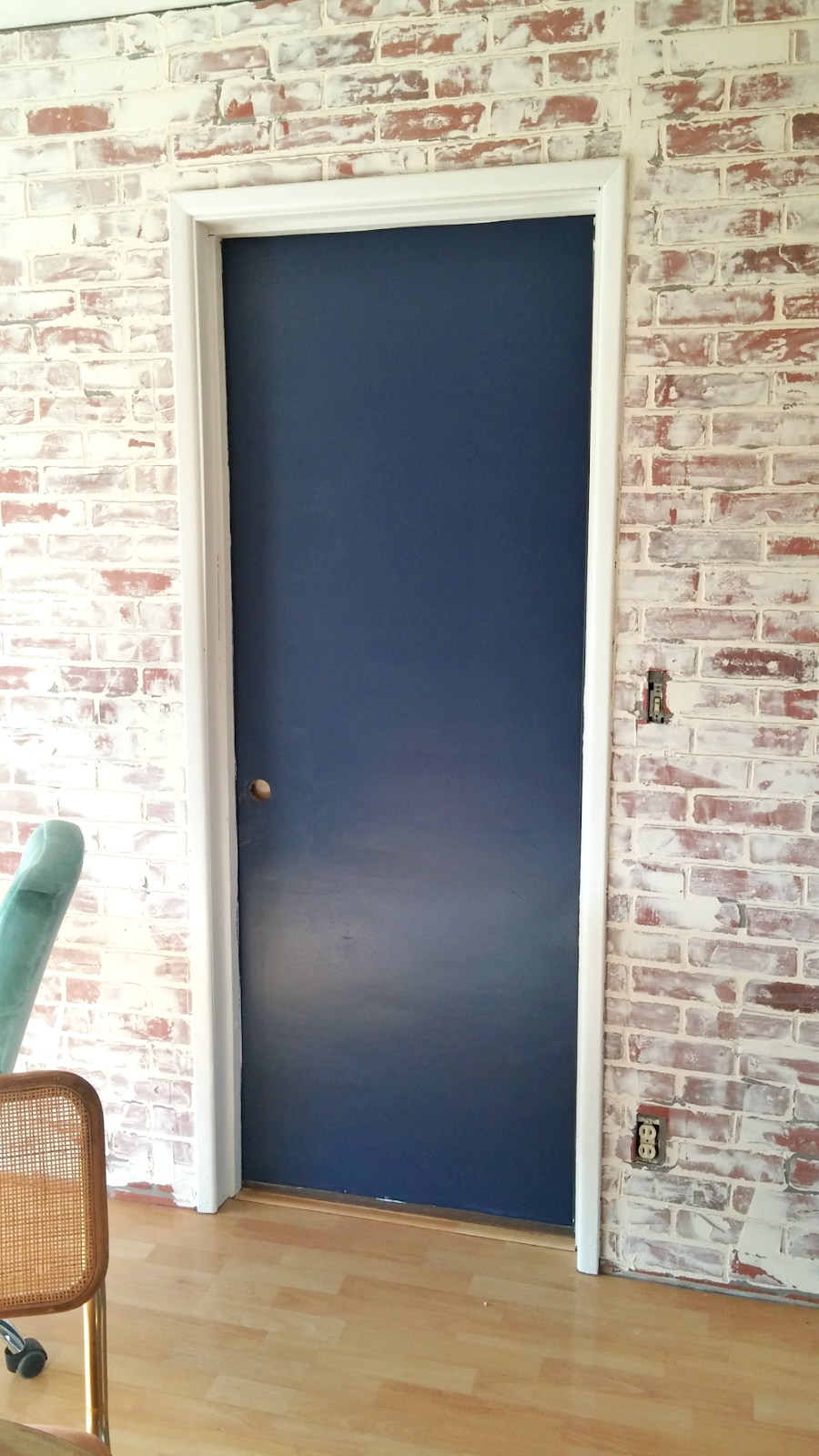 Navy interior garage door