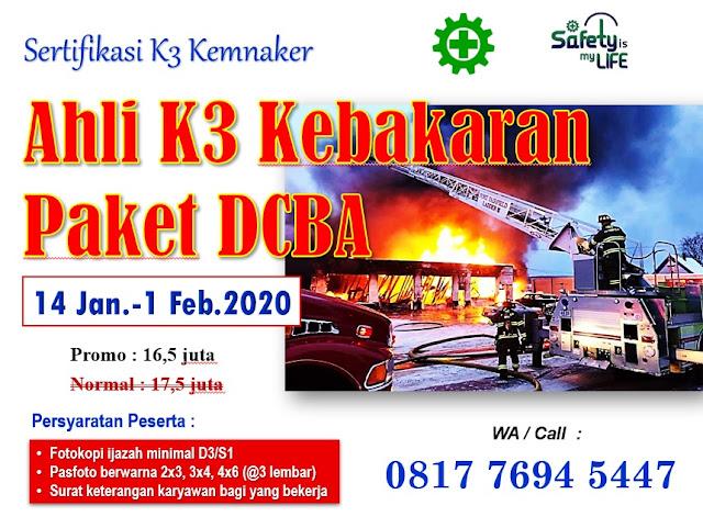 Ahli K3 Kebakaran Paket DCBA tgl. 14 Jan-1 Feb. 2020 di Jakarta