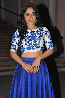 Regina Casandra in Stunning White Embroidery Crop Top Choli and Blue Ghagra at Santosham awards 2017 curtain raiser press meet 02.08.2017 003.JPG