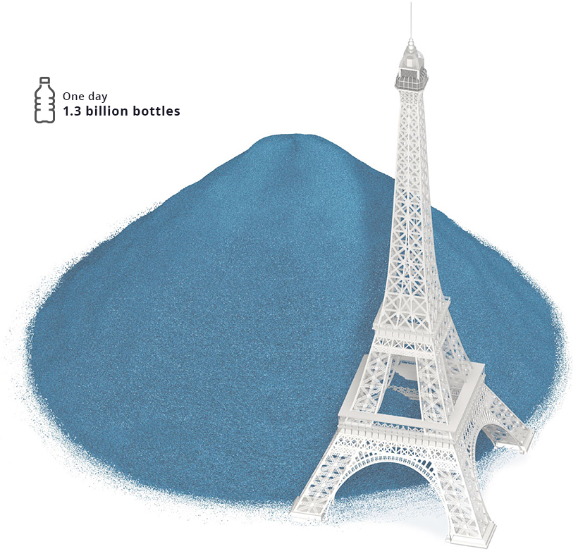 Plastic bottles and Eiffel Tower