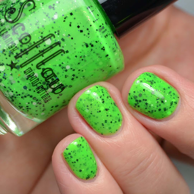 neon green nail polish with glitter swatch