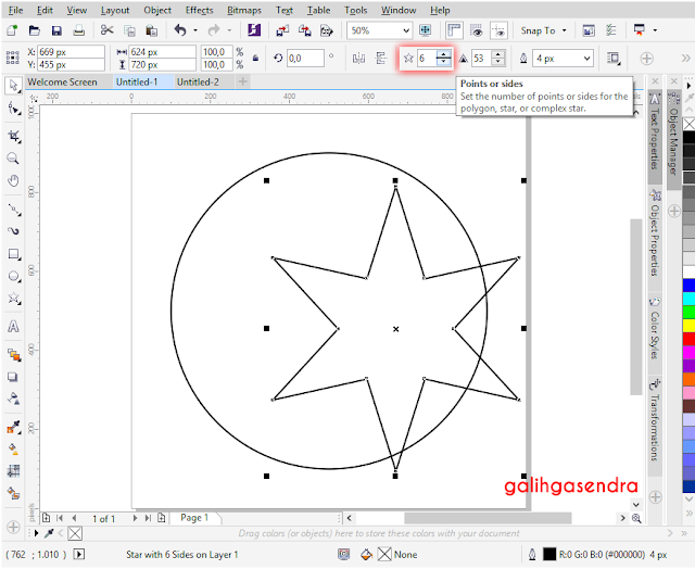 Align to center odd star polygon center circle