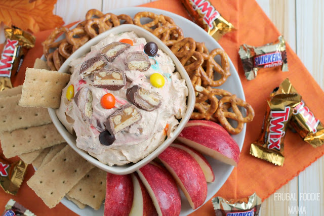 Your favorite candies from the kids' trick or treat bags come together with a favorite fall dessert in this creamy Trick or Treat Pumpkin Pie Dip. #InspiredGathering