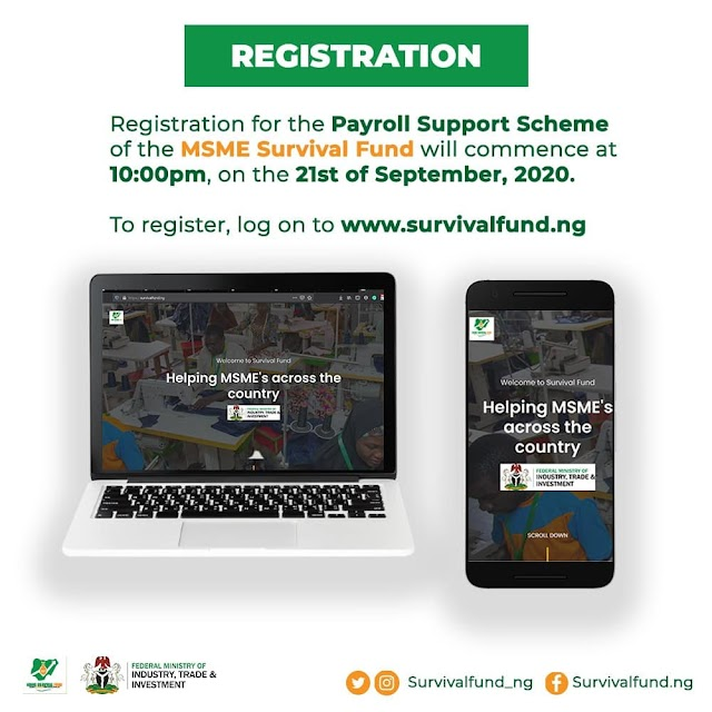 FG set to open online portal for Nigerians to access N75billion survival fund from 10pm on Monday.