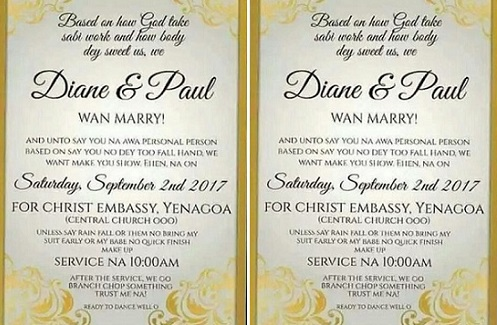 Welcome to ladun liadis blog check out this pidgin wedding check out this pidgin wedding invitation card stopboris Image collections