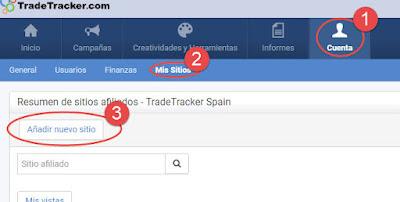 añadir pagina tradetracker