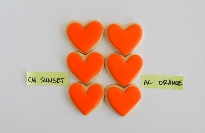Comparing Orange Food Colorings for cookie decorating