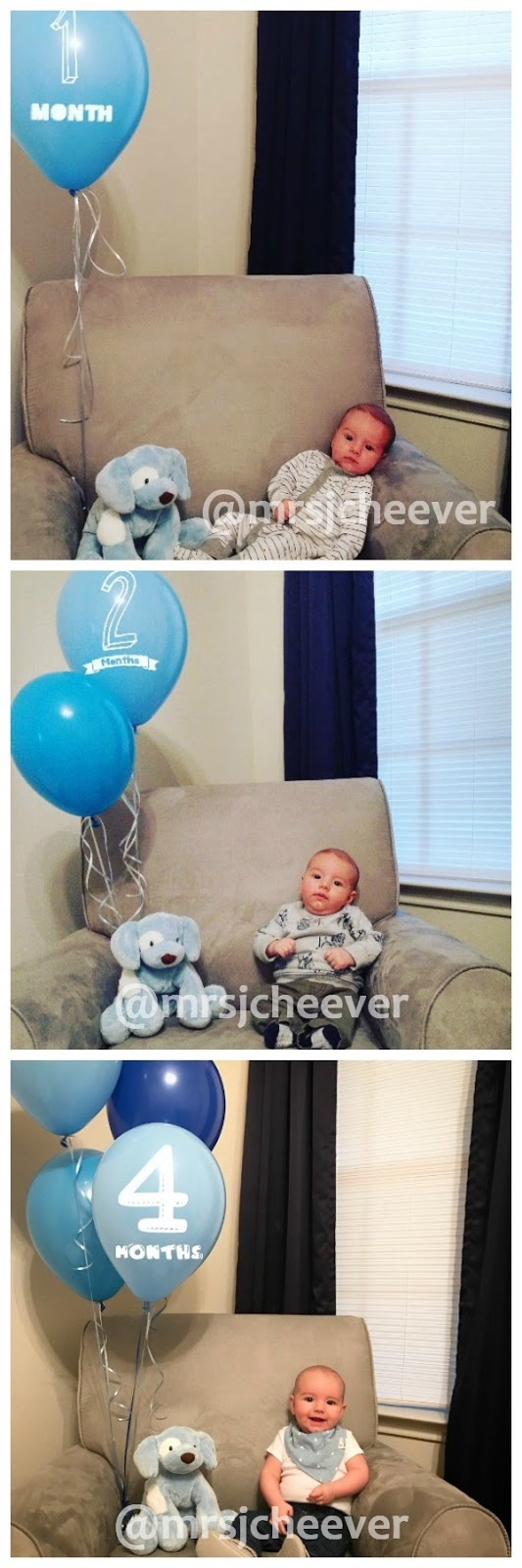 Baby with numbered balloons for monthly photos.