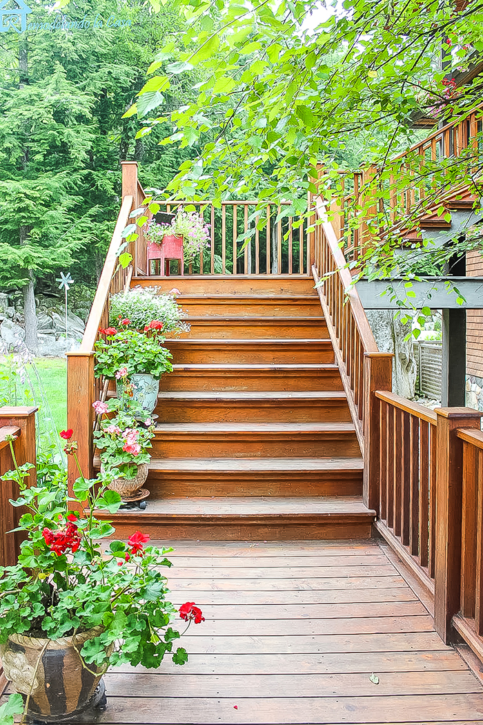 wooden staircase outside cottage