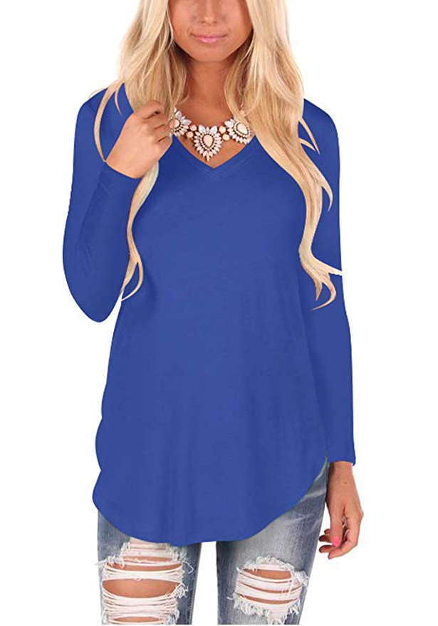 WFTBDREAM Womens Casual Curved Hem Long Sleeve T Shirt V Neck Side Slit Blouse - blue-long Sleeve