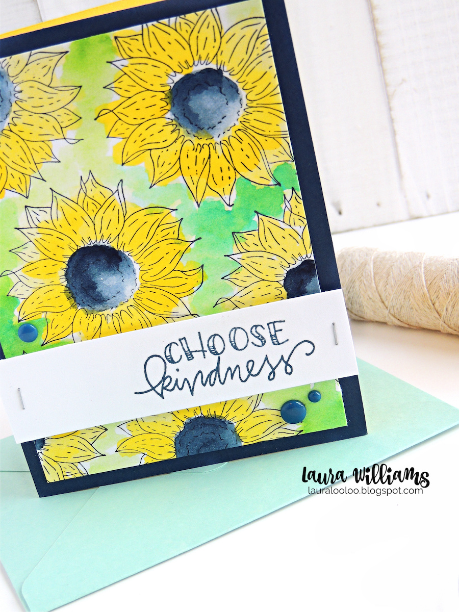 Choose Kindness sunflower card with stamped background for handmade cardmaking ideas and inspiration from Impression Obsession