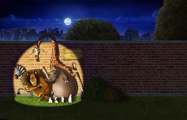 The animals caught in a searchlight at the zoo in Madagascar animatedfilmreviews.filminspector.com