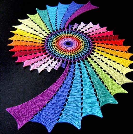 Rainbow double spiral, How to crochet beautiful spiral doily